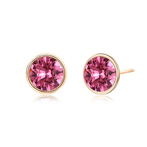 - Crystals from Swarovski, 10MM Round-Cut Crystals Earrings with 14k Gold Plated Post, Hypoallergenic Earrings (Rose)