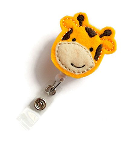 Jerry the Giraffe - Retractable ID Badge Reel - Name Badge Holder - Cute Badge Reel - Nurse Badge Holder - Nursing Badge Clip - Felt (Nurse Retractable Badge Holder)