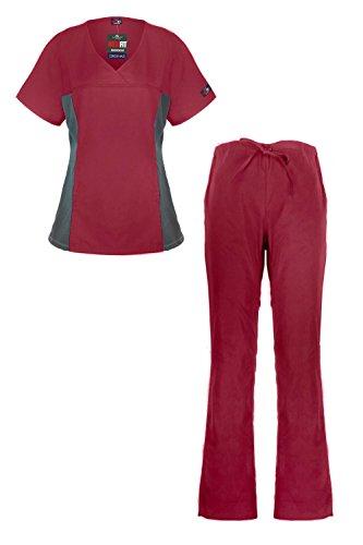 Womens V-neck Lab Jacket (MediFit Women's Mock Wrap Medical Top & Pants Scrub)