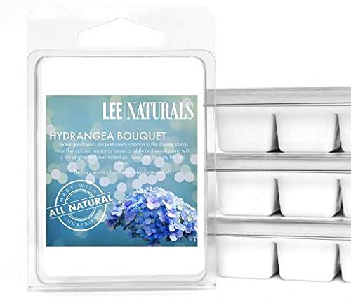 Lee Naturals Spring & Summer - (2 Pack) Hydrangea Bouquet Premium All Natural 6-Piece Soy Wax Melts. Hand Poured Naturally Strong Scented Soy Wax Candle Cubes (Spring 2 Bouquet)