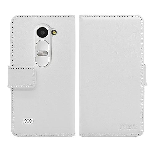 Membrane Funda LG Leon 4G Carcasa Negro Cartera Wallet Case Flip Cover Blanco