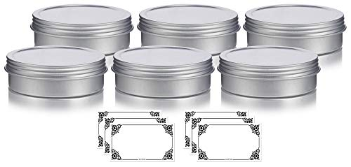 2 oz Metal Steel Tin Flat Container with Tight Sealed Twist Screwtop Cover (6 pack) + Labels