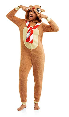 Character Arts Rudolph The Red Nosed Reindeer Fleece Hoodie One Piece Pajma (Medium),Brown, Red, White