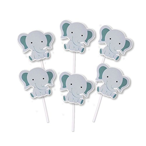Elephant Baby Cupcake Toppers (set of 24) - Jungle Themed Birthday or Baby Shower