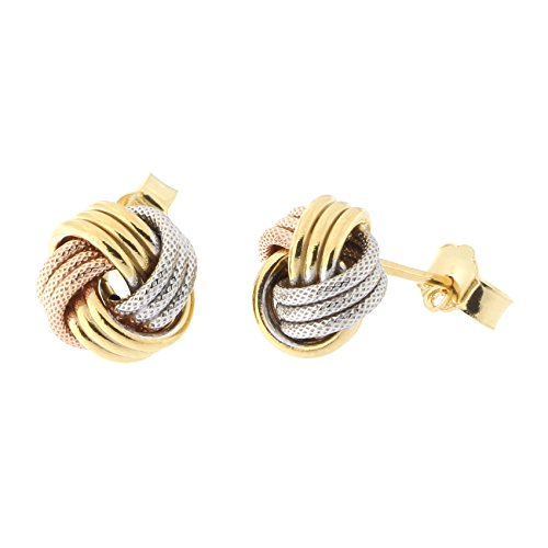 14k Yellow, White and Rose Gold Tri-Color Textured Love Knot Stud Earrings