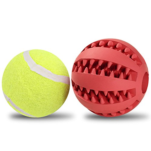 Dogs Toys Balls with Tennis for Pet Training/Playing/Chewing, Non-Toxic Soft Rubber Tooth Cleaning (Toys R Us Ball Dog)