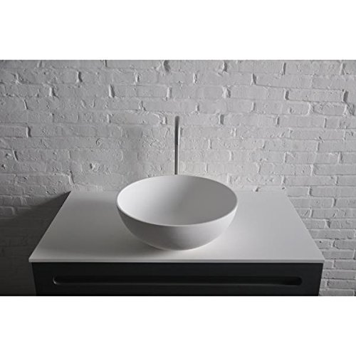 ID Thin Round Solid Surface Vessel Sink Bowl Above Counter Sink Lavatory by ID Bath Collection