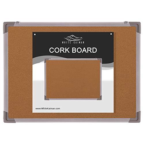 (White Kaiman Cork Board Bulletin Pin Board - Double Sided Small Cork Board w/Silver Frame & Mounting Hardware (36