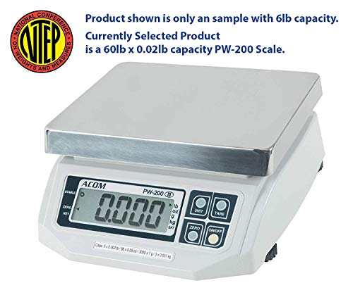 Control Digital Scale - ACOM PW-200 Digital Portion Control Scale, Lb/Oz/Kg/g Switchable, Low Profile Design, 60lb Capacity, 0.02lb Readability, Single Display, NTEP Legal for Trade