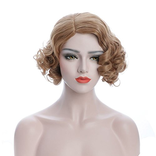 Price comparison product image Karlery Women's Brown Short Bob Curly Fluffy Wig Halloween Cosplay Costume Party Wig