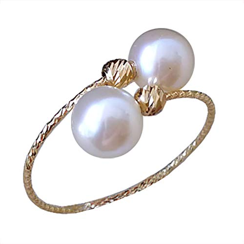 - 18K Solid Yellow Gold Open Spring Semi-Mounted Rings High Luster Freshwater Cultured Pearl (Single Circle Spring)