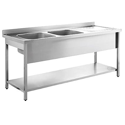 Custom Double Bowl Sink Unit with Back Splash and Under Shelf (Size : 2000x700x850 mm)