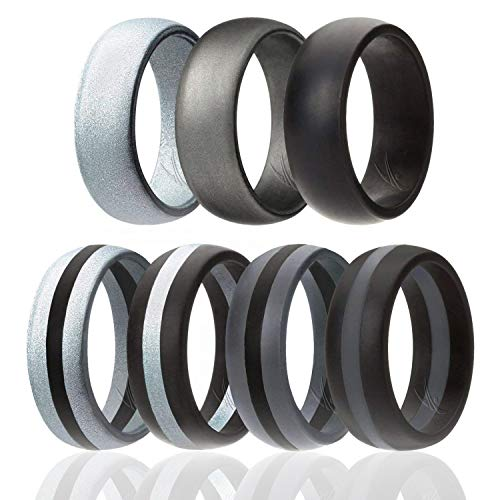 ROQ Silicone Wedding Ring for Men, 7 Pack Silicone Rubber Band - Black, Beveled Metallic Platinum, Silver, Grey - Size 13