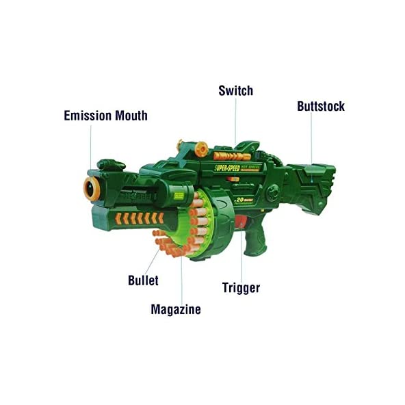 Toyshine Blaze Storm Soft Bullet Automatic Gun with 40 Darts, 49x23x12cm (Metal Green)