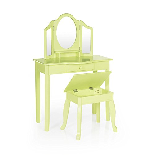 Guidecraft Vanity Table and Stool Set with Mirror and Make-Up Drawer - Children's Furniture - Light Green by Guidecraft (Image #2)
