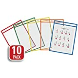 """QuickFit® Educational Dry Erase Pockets, 9"""" x 12"""", 10 Pack, Assorted Colours"""