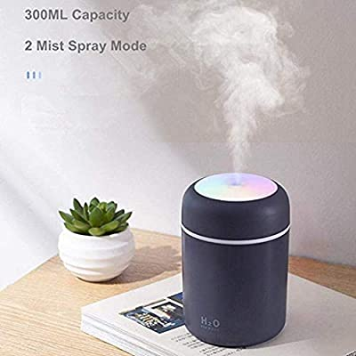 Portable Mini Humidifier, Office Desk Humidifier, USB Personal Desktop Humidifier with 7-Color L-E-D Night L-i-g-h-t, 300ml Small Cool Mist Humidifier, Quiet, Waterless Auto Shut-Off, 2 Mist Mode (Black) : Sports & Outdoors