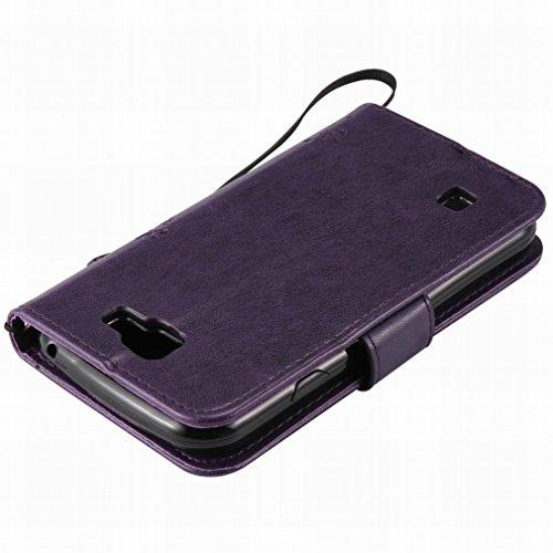 Custodia LG K3 / K100 / LS450 Cover Case, Ougger Alberi Gatto Printing Portafoglio PU Pelle Magnetico Stand Morbido Silicone Flip Bumper Protettivo Gomma Shell Borsa Custodie con Slot per Schede (Porp