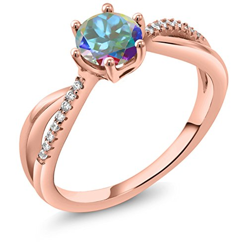 Gem Stone King 1.19 Ct Round Mercury Mist Mystic Topaz 18K Rose Gold Plated Silver Ring (Size 7)