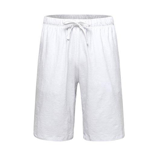 (OThread & Co. Men's Cotton Pajama Shorts Loose Lounge Shorts Soft Sleepwear Pants (X-Large, White))