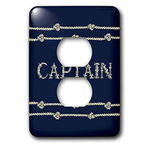3dRose Russ Billington Nautical Designs - Navy Blue and Ivory Text- Captain with Rope Detail - Light Switch Covers - 2 plug outlet cover (lsp_291573_6)