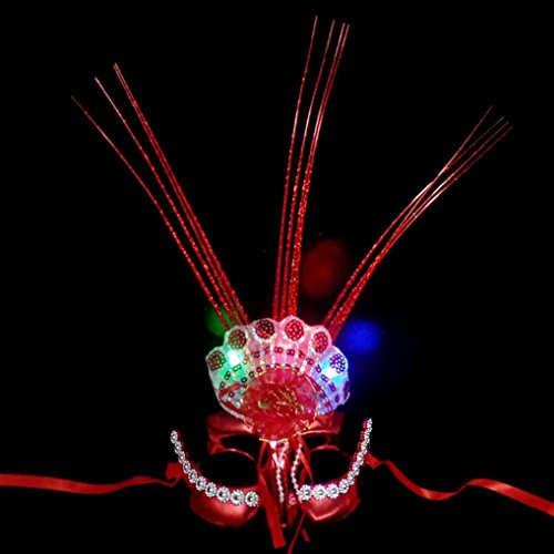 Fluorescent Party Mask,Hongxin Flash Glossy Festival Mask Colorful Fluorescent Peacock Raindrop Mask Flashing Led Party Costume (Peacock Halloween Costumes Diy)