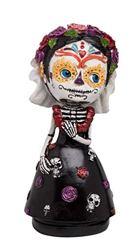 Transpac Imports D0104 Resin Day of The Dead Female Bobble Head Figurines, Black]()