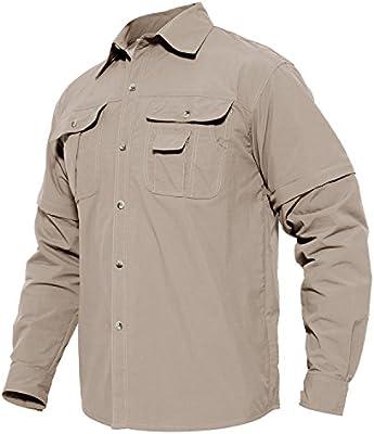 MAGCOMSEN Secado rápido Transpirable umwandel Bar para Hombre Camisa de Manga Larga para Senderismo Trabajo Militar Protección Solar: Amazon.es: Deportes y aire libre
