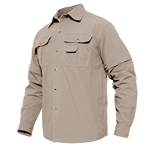 (Men's Hiking Quick Dry Shirt Convertible Mountain Travel Cargo Long Sleeve Shirt Khaki)