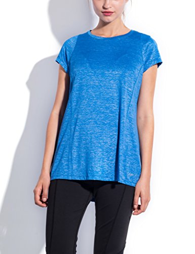 SPECIALMAGIC Women's Short Sleeve Crew Neck Activewear Stretchy Workout T Shirt Royal Blue L