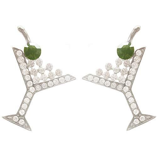 Rhinestone Encrusted Martini Glass Earrings, in Silver Tone