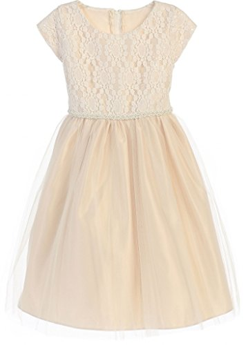 Hairstyles For 1st Communion - Little Girls Embroidered Cap Sleeve Communion