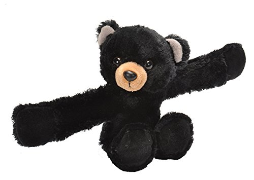 Animal Black Bracelet - Wild Republic Huggers, Black Bear Plush Toy, Slap Bracelet, Stuffed Animal, Kids Toys, 8 inches