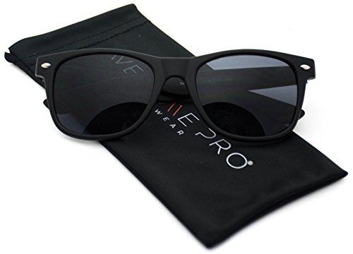 Square Matte Sunglasses Classic 80's Vintage Style - Black Wayfarer Matte