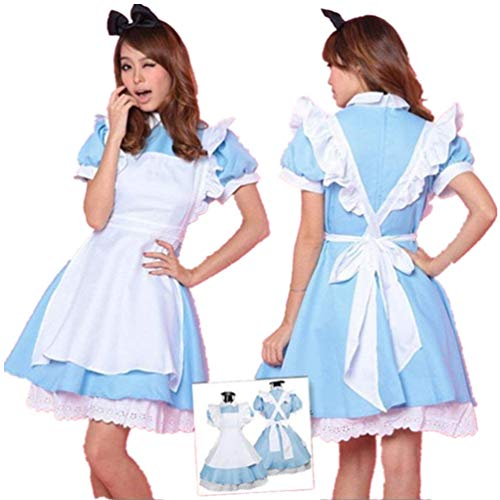 Deetto Cosplay Costume Alice in Wonderland Anime Maid Blue Costumes Lolita Women Girls Dress