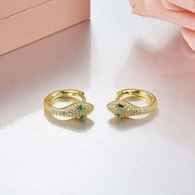 Sterling Silver Snake Cuff Ear Clip Stud Earrings Green Crystal Eyes with Clear Rhinestone