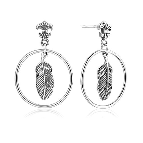 (20mm Circle Hoop Leaf Feather Dangle Earrings Bohemian Antique Fleur De Lis Stud Earrings 925 Sterling Silver)