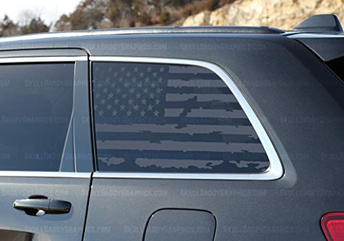 (Skull Daddy Graphics Distressed USA Window Flags to fit Jeep Grand Cherokee WK2 2011-2019 (Both Sides))
