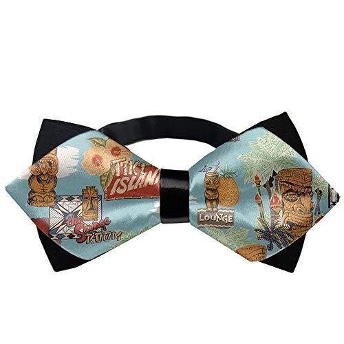 Tiki Tie - Tiki Aloha Novelty Tuxedo Bow Tie, Formal Suit Bowtie Gift for Men, Boys, Teens
