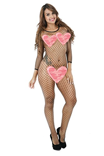 Health to Happiness Women's Crotchless Sexy Open Stretch Bodystocking Fishnet, Black, One Size, Fits All