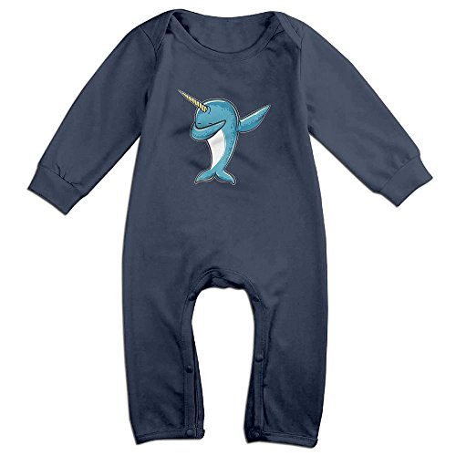 Eilinqch Dabbing Narwhal Baby Boys Girls Cute Long Sleeve Romper Jumpsuit Bodysuit 6 M Navy (Baby Hazel Halloween Party Game)