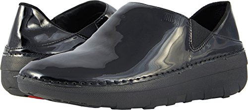 FitFlop Women's Superloafer Medical Professional Shoe, Black Patent, 8 M US by FitFlop