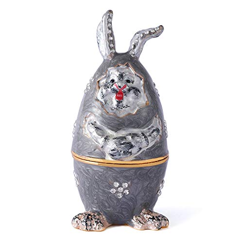 QIFU Vintage Style Hand Painted Rabbit Shape Jewelry Trinket Box with Rich Enamel and Sparkling Rhinestones | Unique Gift Home Decor | Best Ornament Your ()