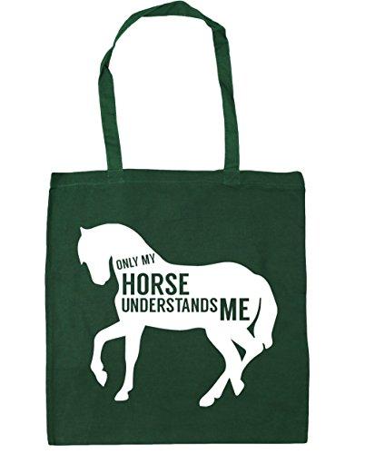 HippoWarehouse solo mi caballo ME entiende Tote Compras Bolsa de playa 42cm x38cm, 10litros verde oscuro