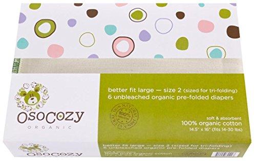 OsoCozy Organic Cotton Prefolds Premium Short 4x8x4 (6pk) by OsoCozy