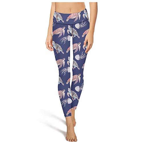 (Long Hiking Abstract Turtles Blue Leggings Young Women Printed Tights Yoga Pants)