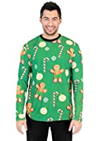 Gingerbread All Over Green Long Sleeve Ugly Christmas T-Shirt