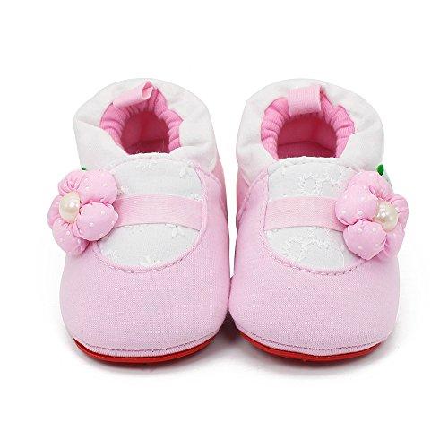 Delebao Baby Infant Toddler Cartoon Rubber Sole Crib Shoes Slippers Prewalker 0-24 Months (12-18 Months, Pink Flower)