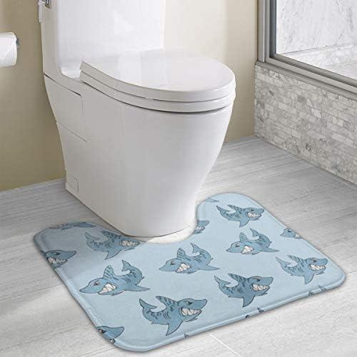 サメ トイレマット Uタイプ トイレファブリック 40X49CM 厚くする トイレ フロアマット 防臭 抗菌 防湿 滑り止め 浴室足ふきマット おしゃれ トイレ用品