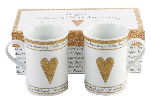 50th Golden Wedding Anniversary Gift Set Ceramic Mugs By Haysom Interiors